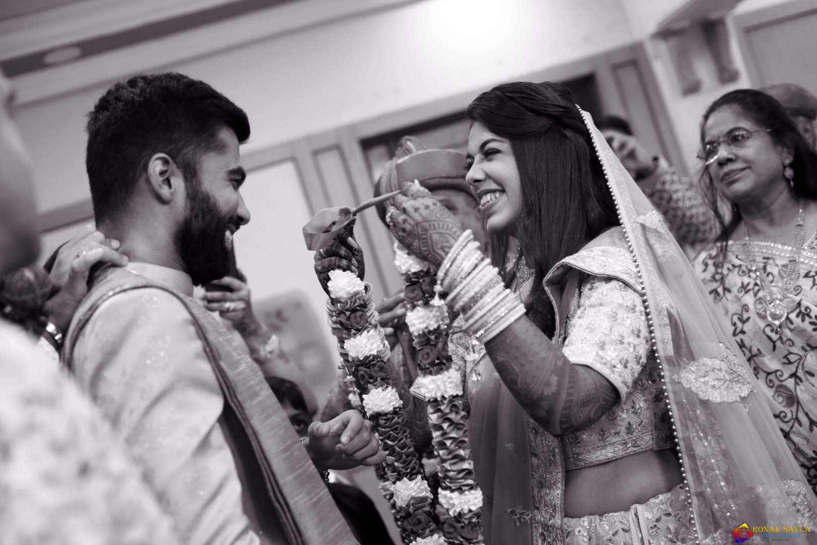 happy couple at their jaimala