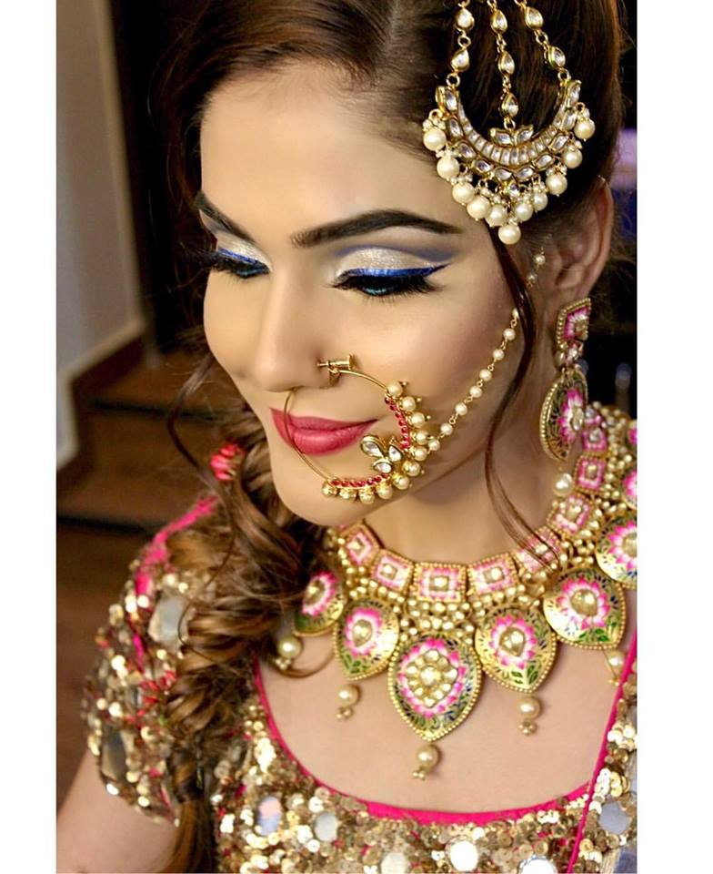 Blue Eye Liner with Red Lehenga