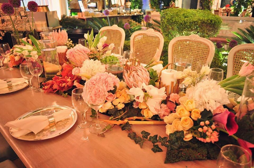 Beautiful Pastel Floral Tablescape with Exotic Flowers