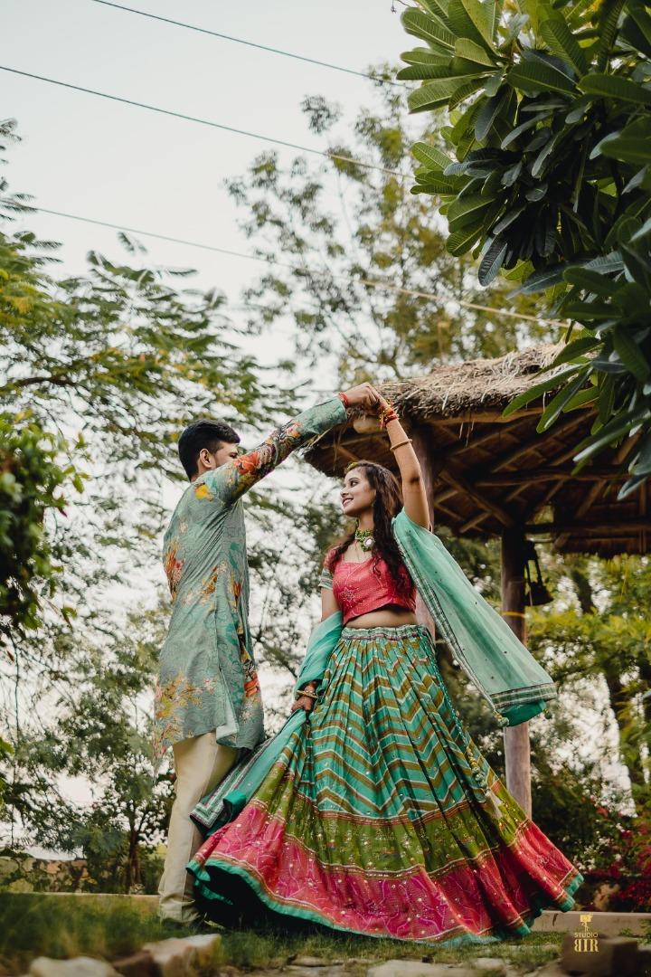 bride twirl in her lehenga