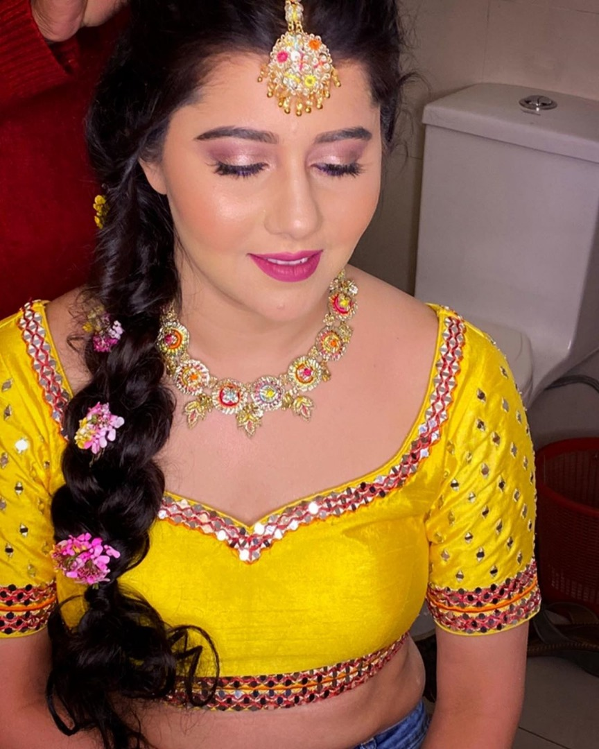Yellow outfit bridal makeup