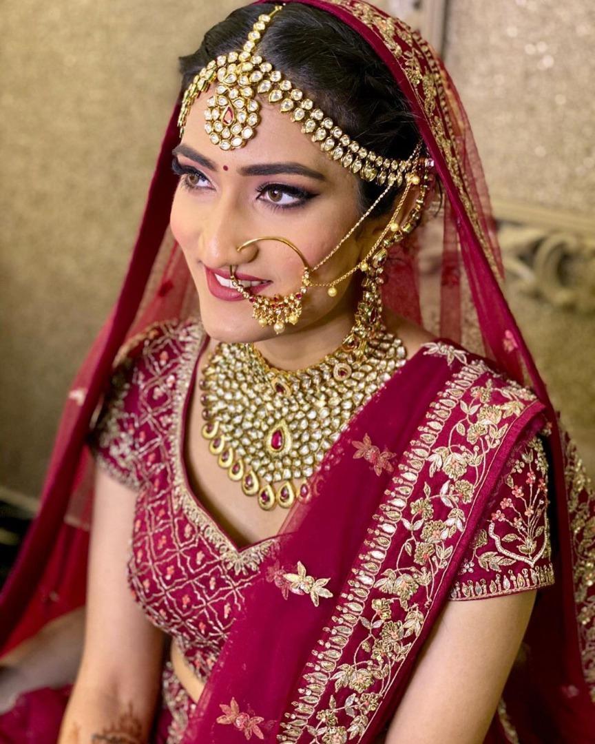Beautiful bride hair and makeup in pink