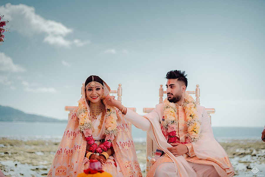 Bride and groom during wedding rituals