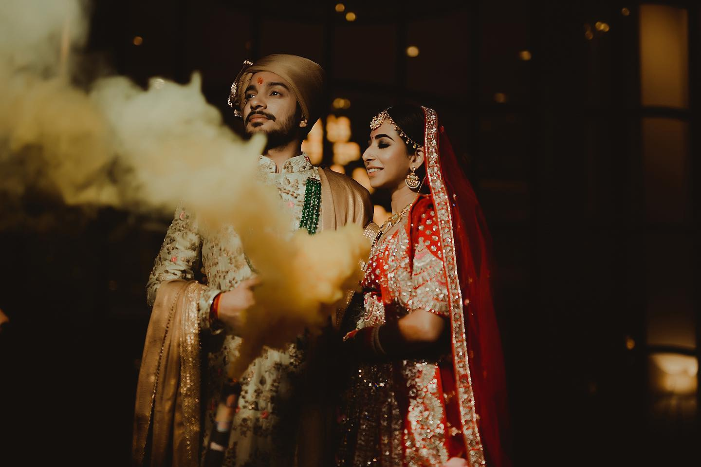 Beautiful candid picture of bride and groom