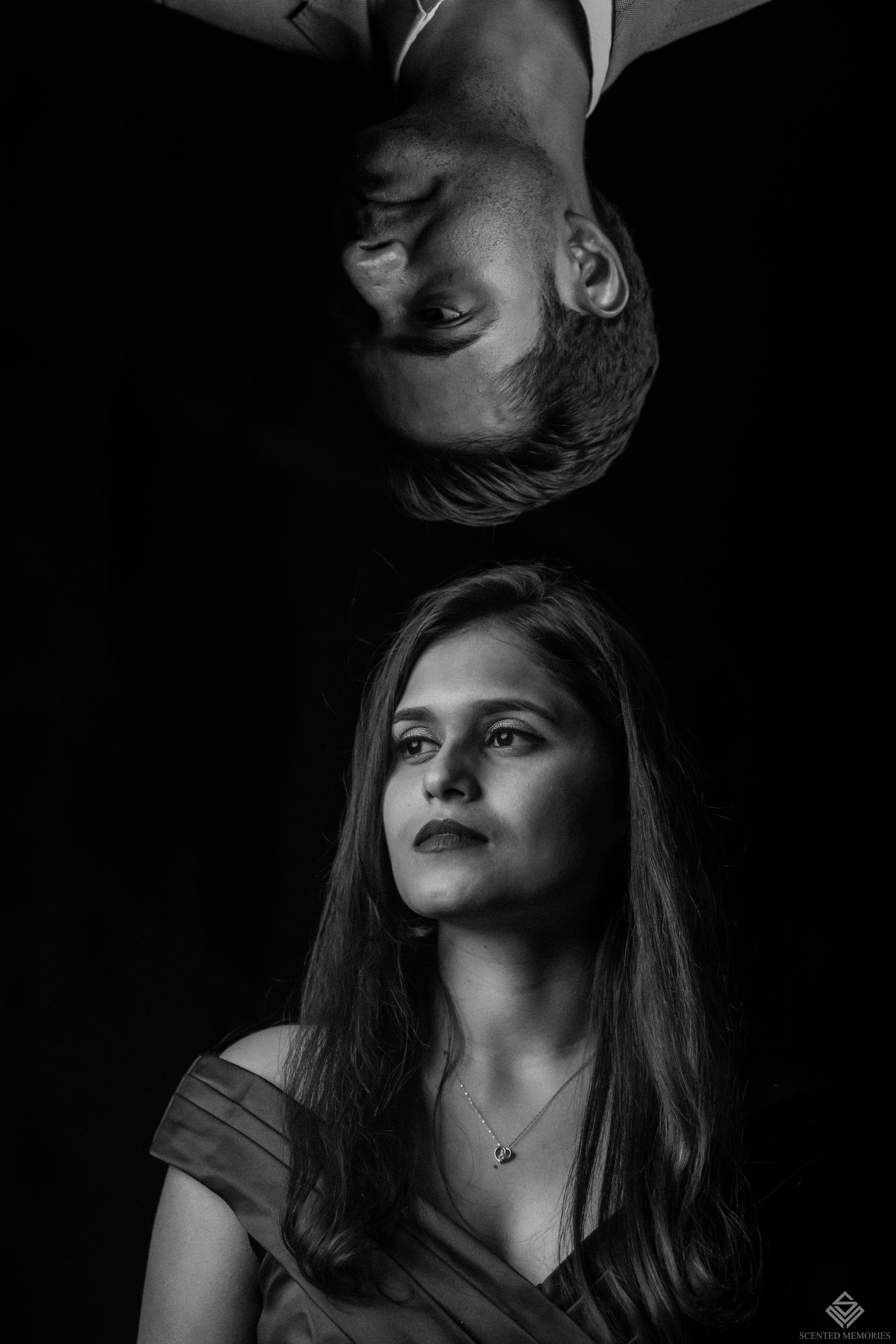 Creative couple portraits in black and white