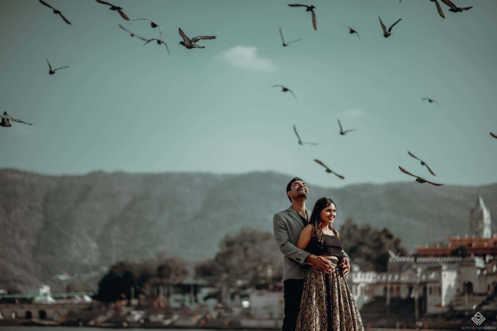 Pre wedding photoshoot of bride and groom with a beautiful background