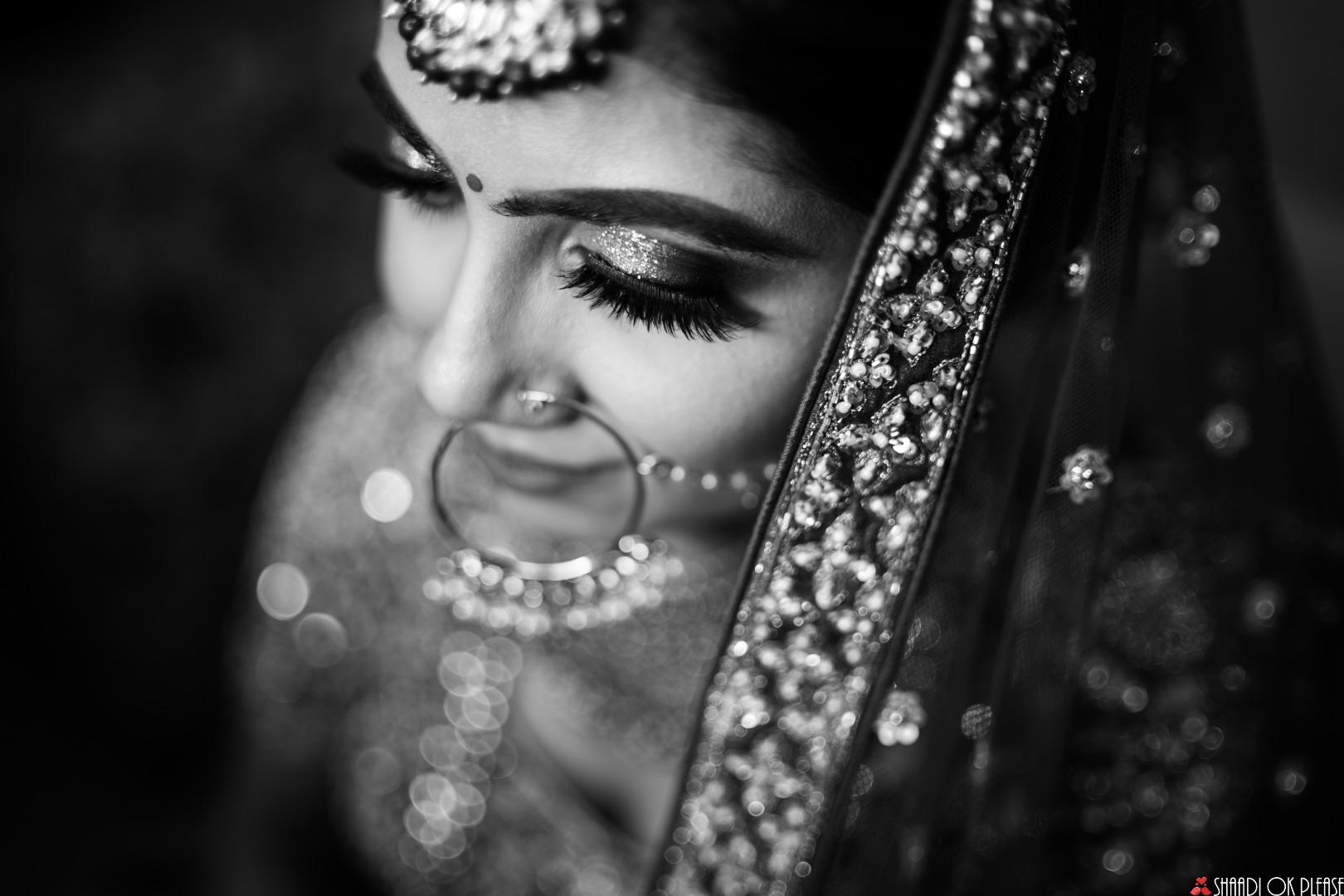 Stunning Black and White Bridal Portrait