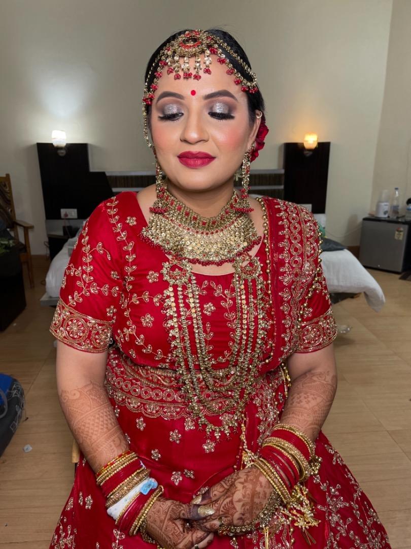 bride in stunning floral bridal bun