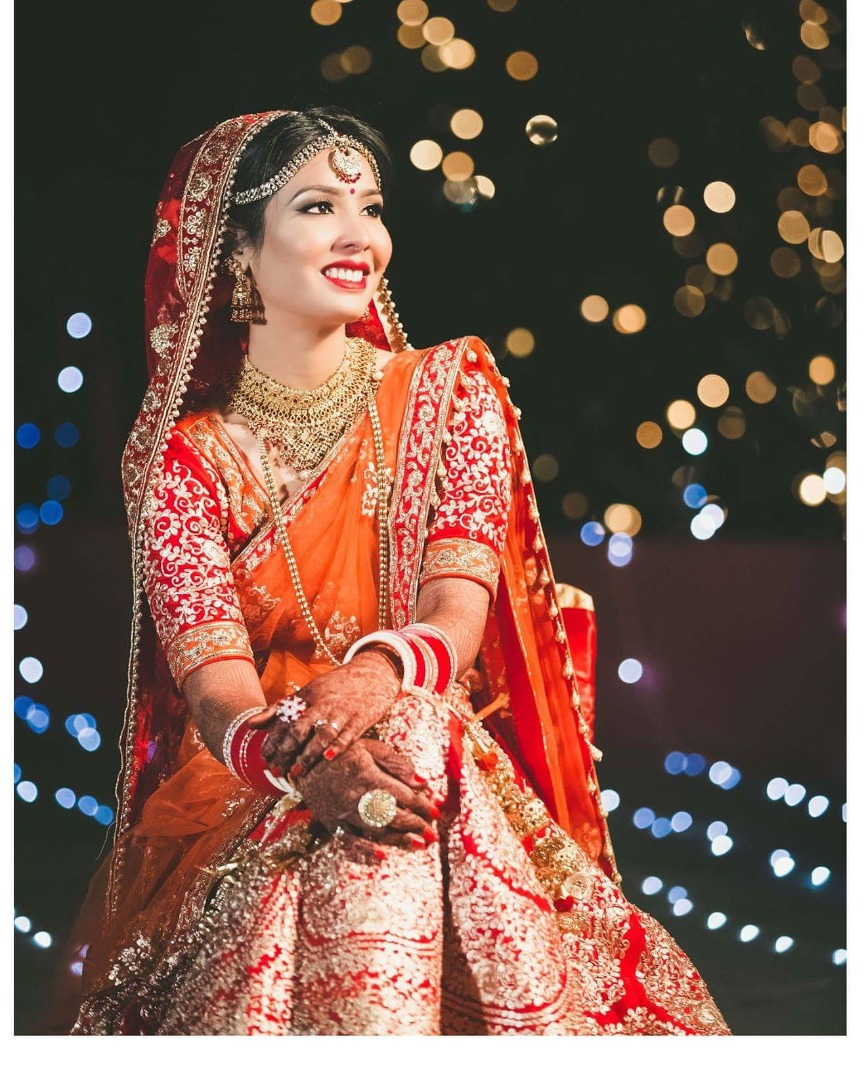 Orange and Golden Bridal Lehenga