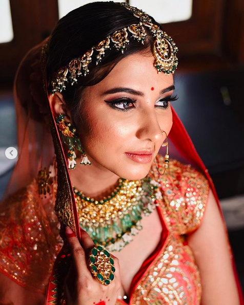 Bridal Look with Orange Lehenga