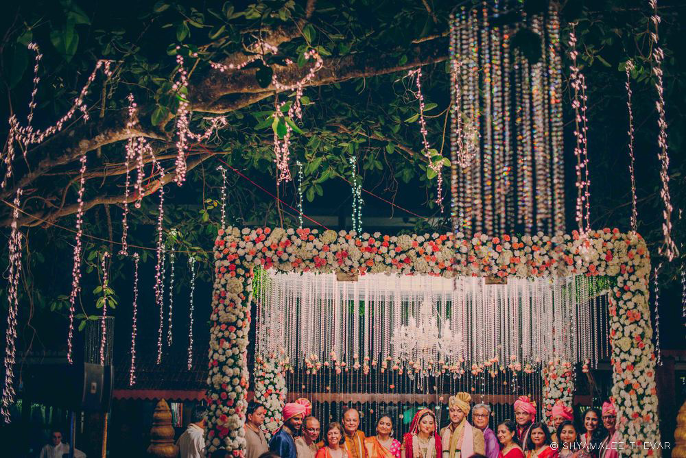 Floral Mandap Decor with Fairy Lights & Crystal Hangings