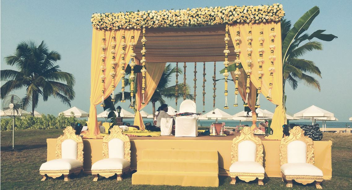 Yellow Theme Indian Wedding Mandap Decoration