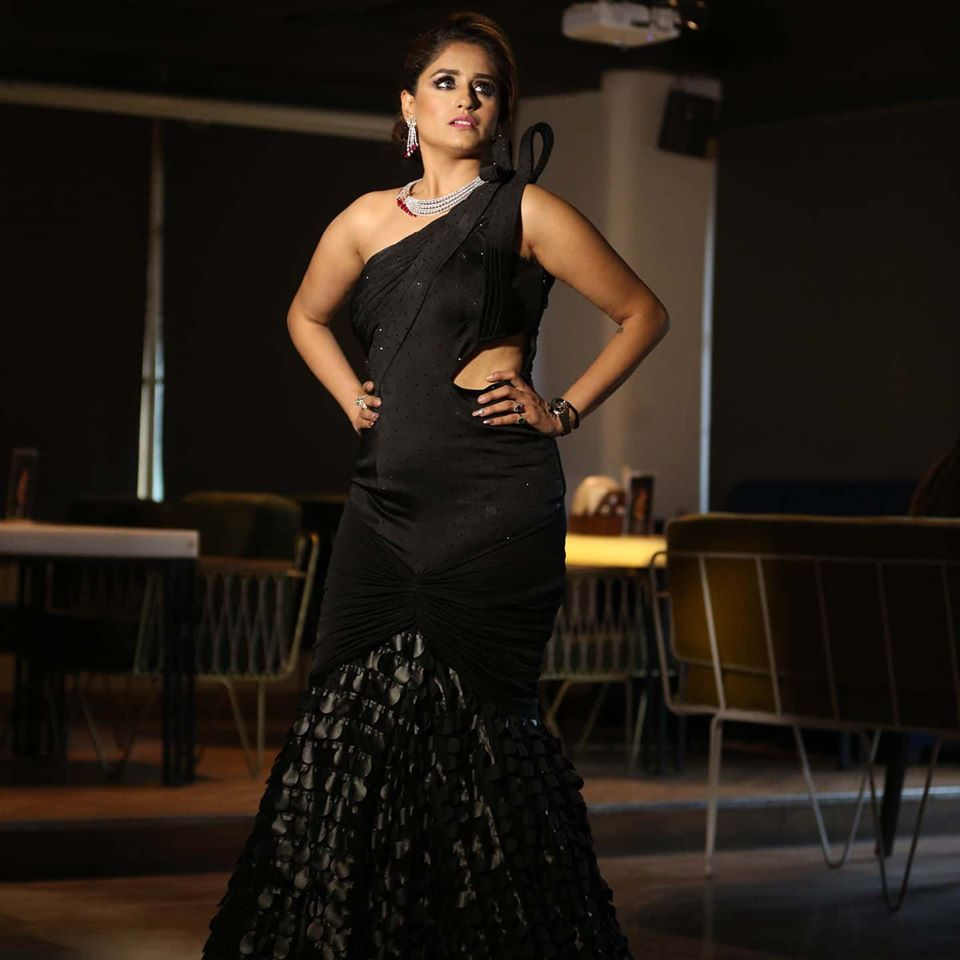 Black Fish cut Gown with silver jewelry