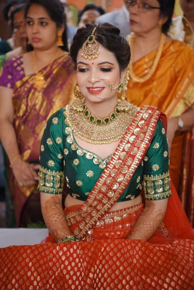 Red and Green Bridal Saree