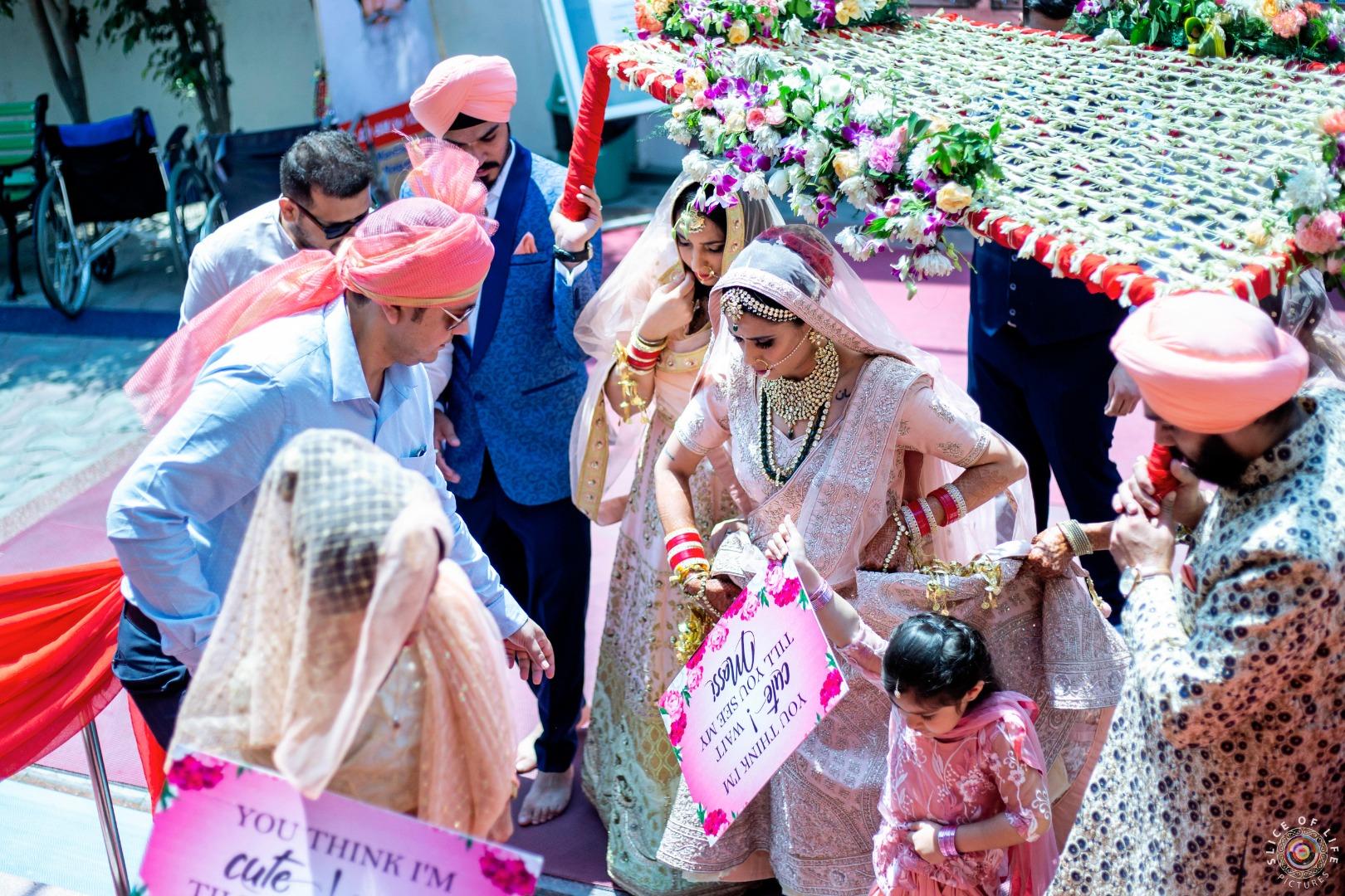 Sikh Bridal Entry under Phoolon ki Chaddar