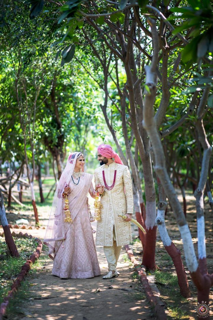 Pastel Pink Bride & Groom Outfits