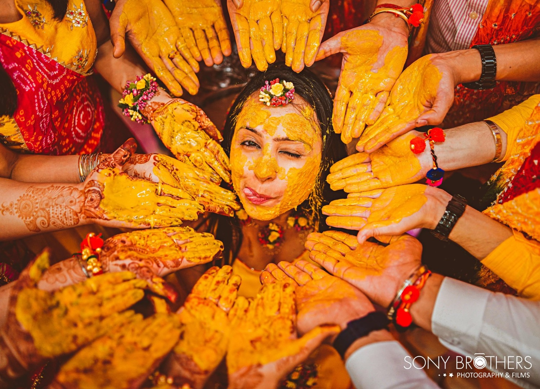 vibrant haldi shot of the bride