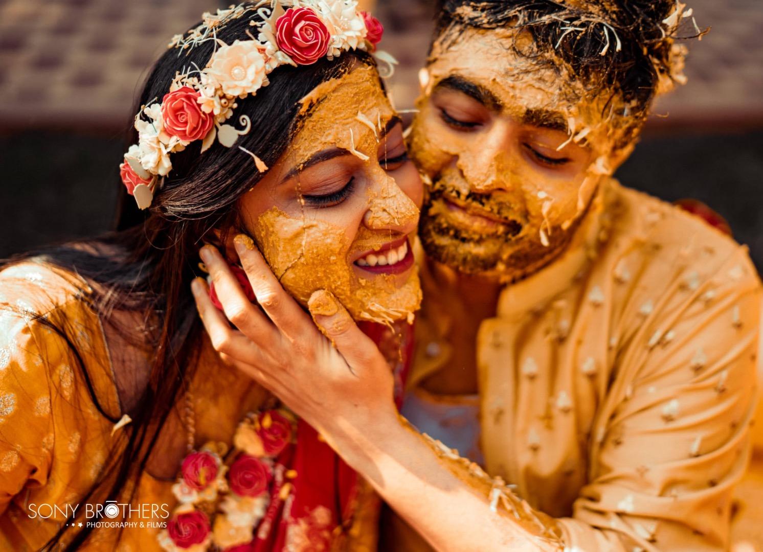 happy couple at their haldi
