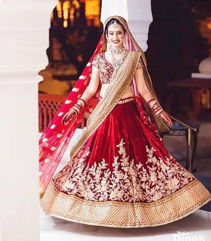 Beautiful bride in gorgeous red lehenga
