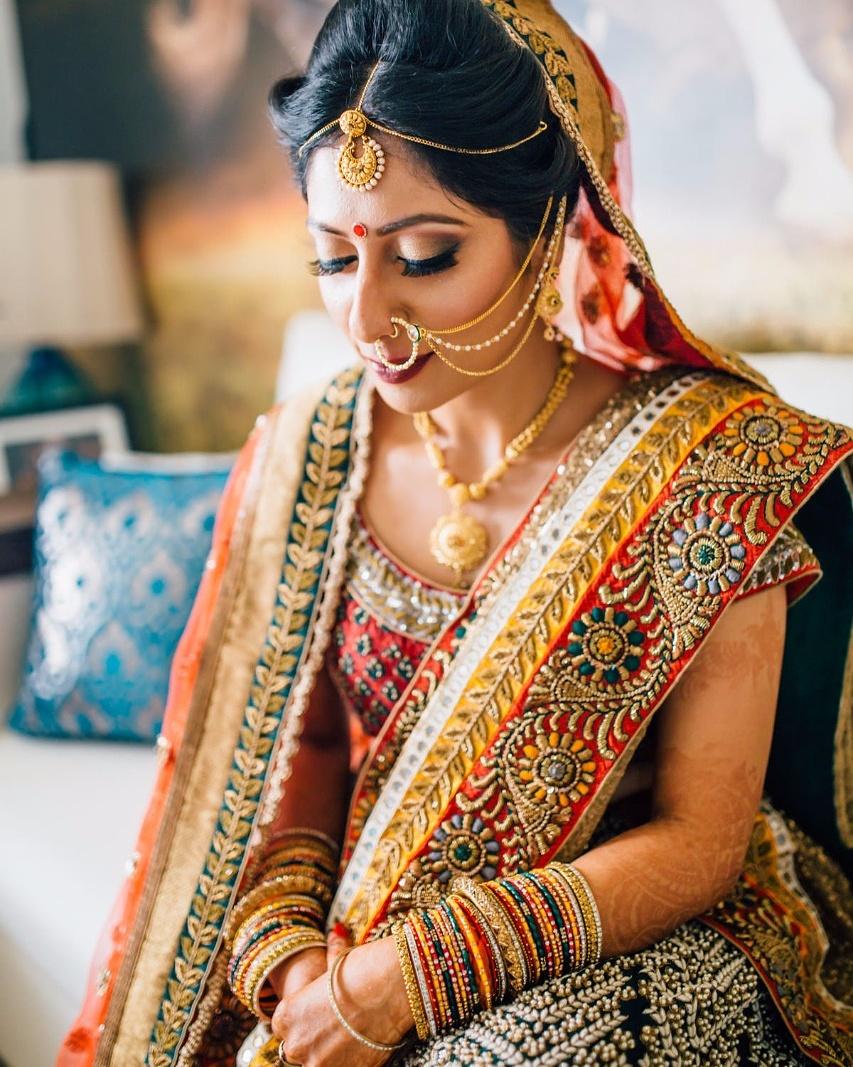 Beautiful bride in traditional Indian Saree