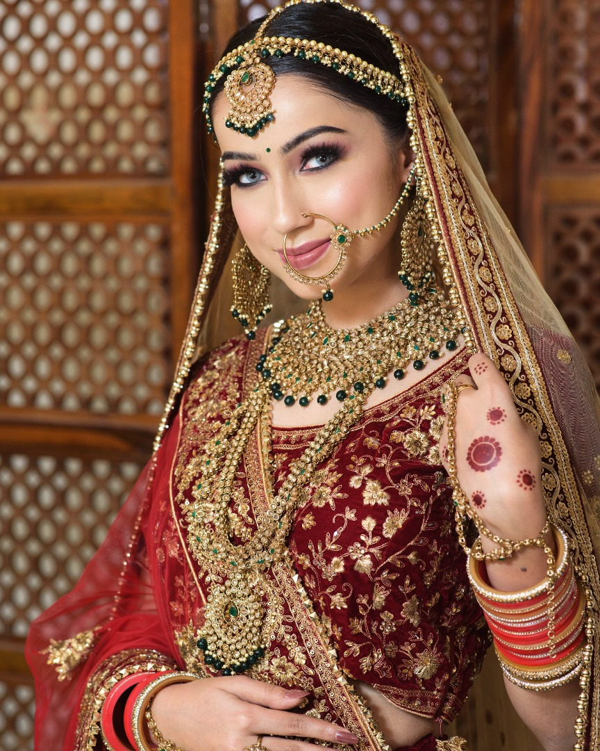 happy bride in stunning bridal makeup