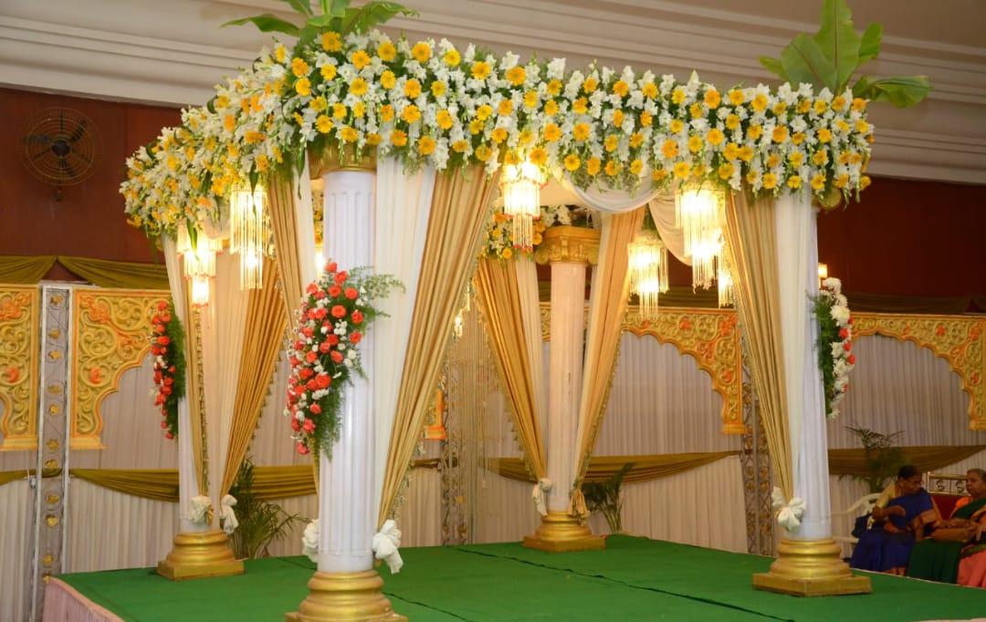 yellow mandap decor