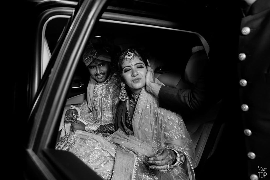 Gorgeous Indian Couple leaving Wedding