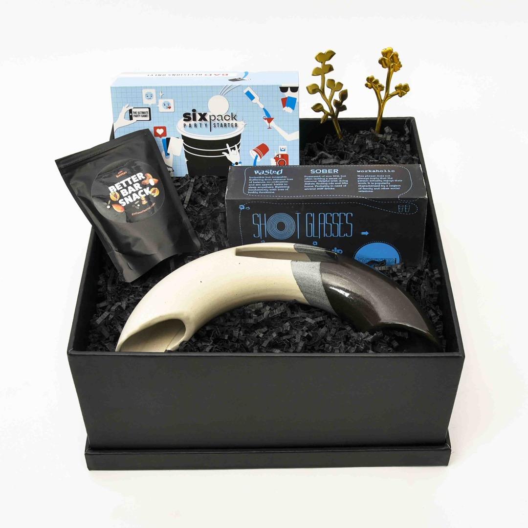 blue and black gift hamper