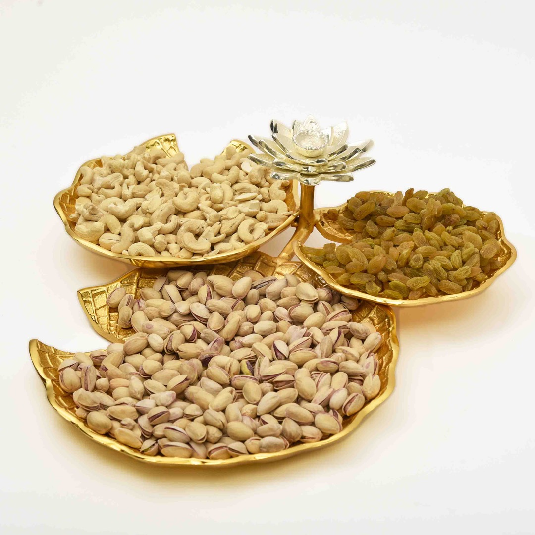 copper tray with dry fruits