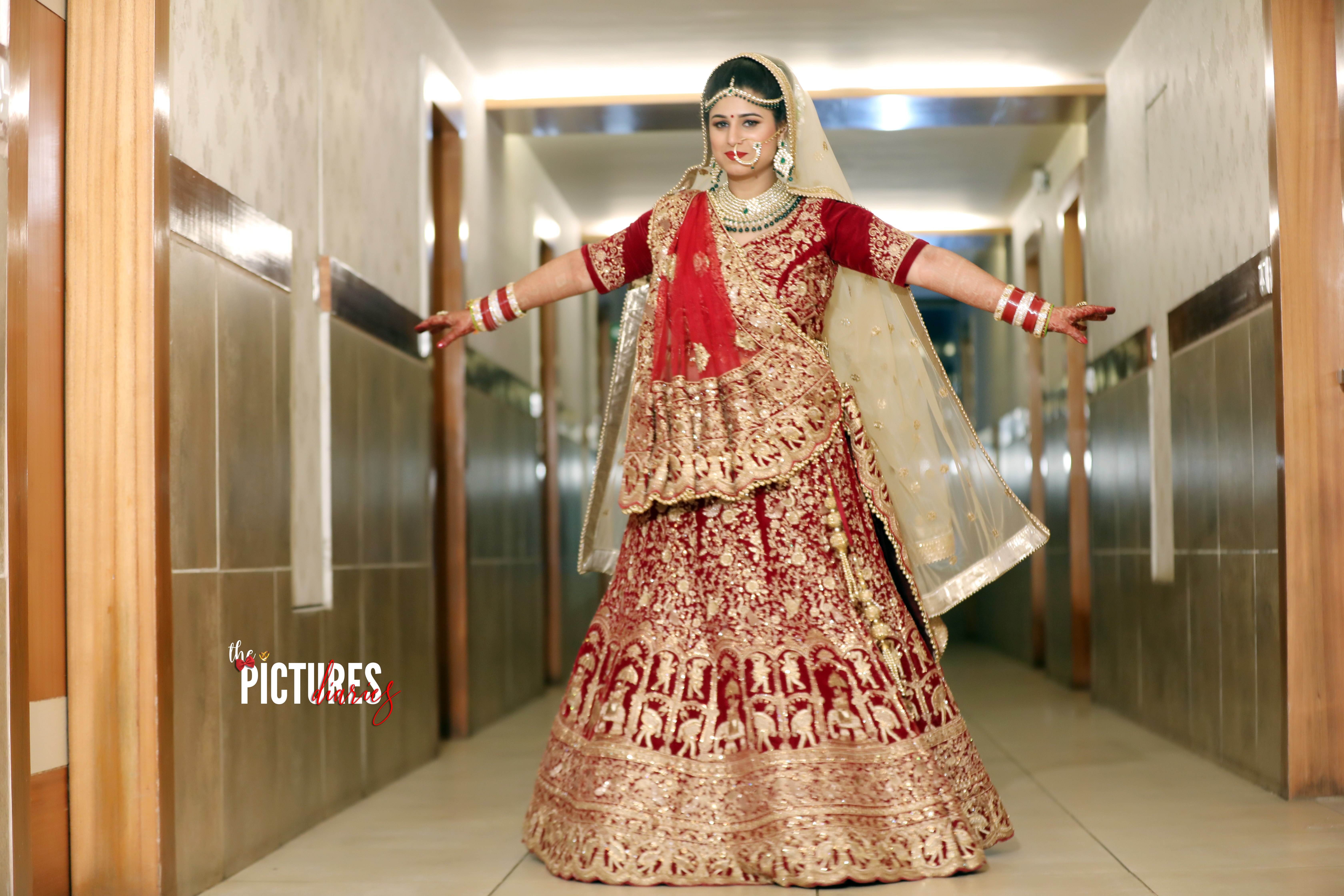 Indian Bride in Red and Gold Bridal lehenga