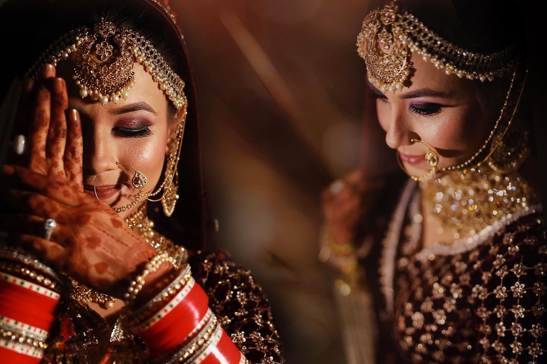 Red Bridal Choora and Golden Mang Tikka