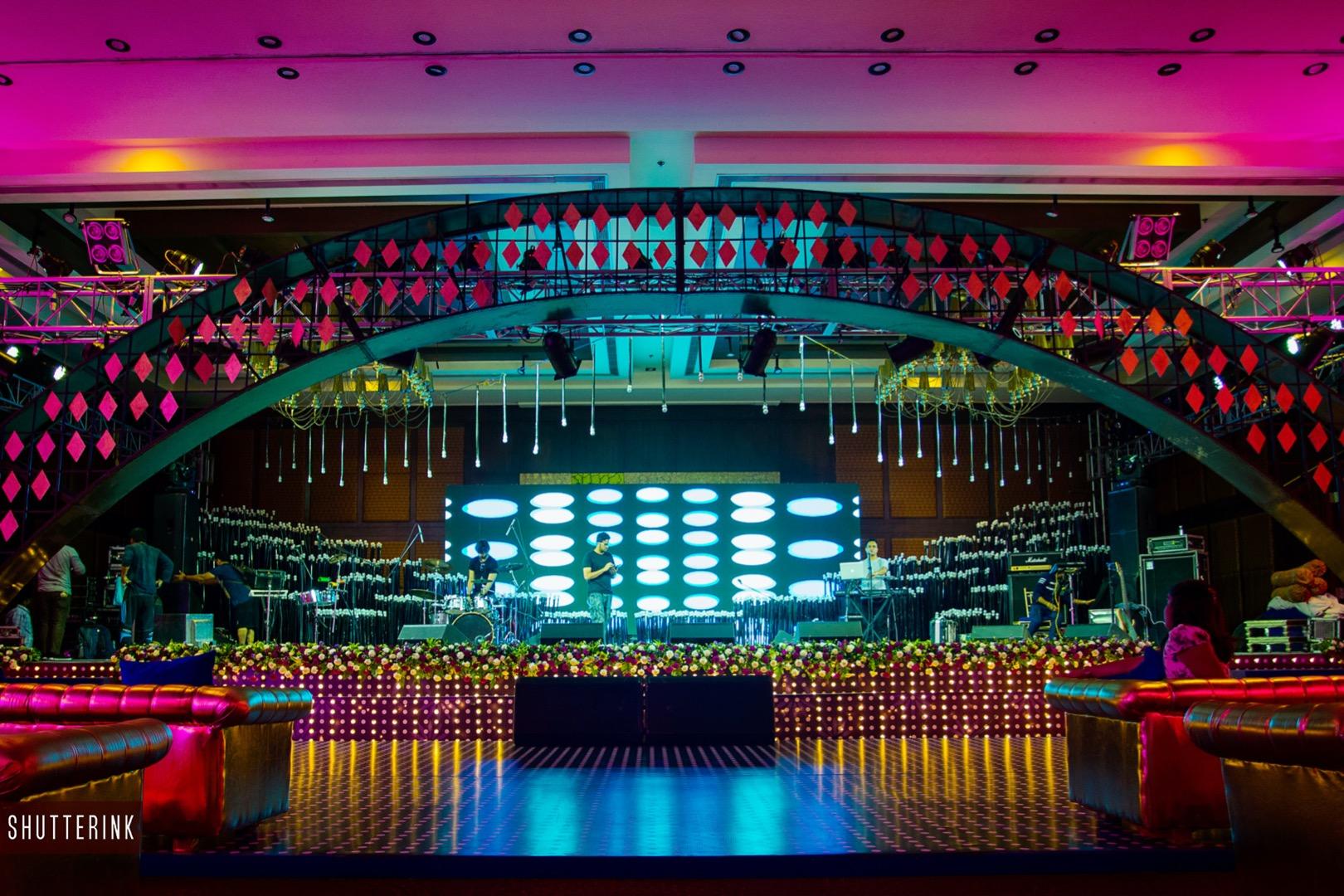 Grand Indoor Sangeet Ceremony Stage Decor