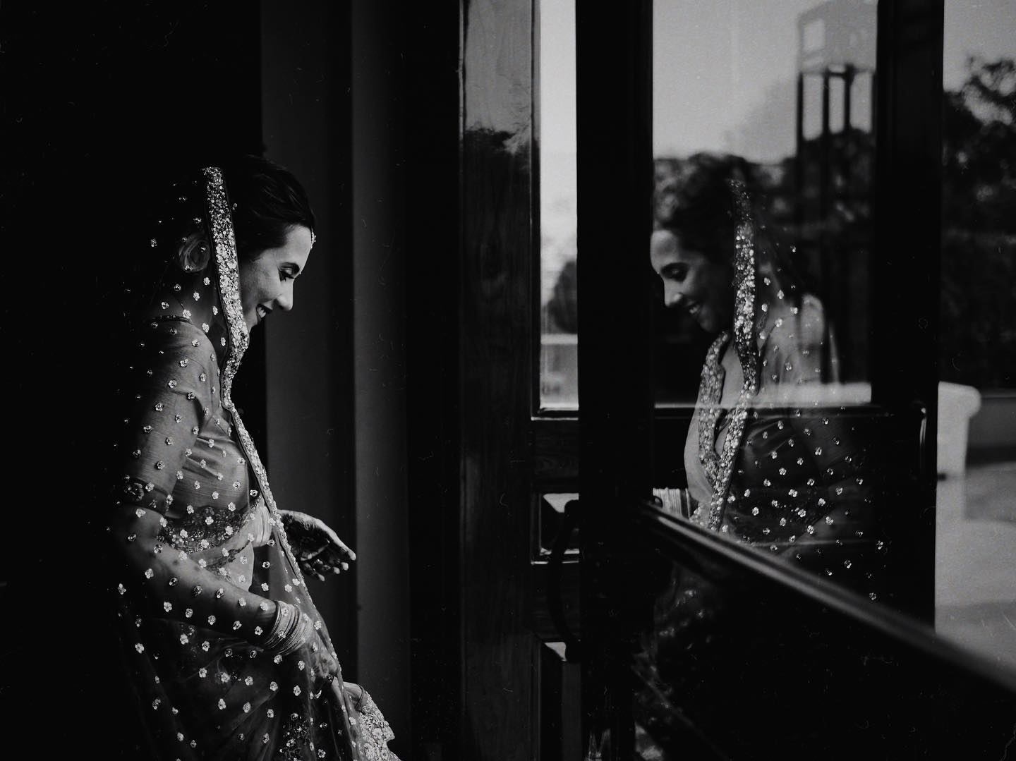 Black and White Candid Bridal Portrait