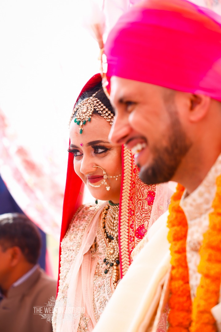Smiling Bride and Groom