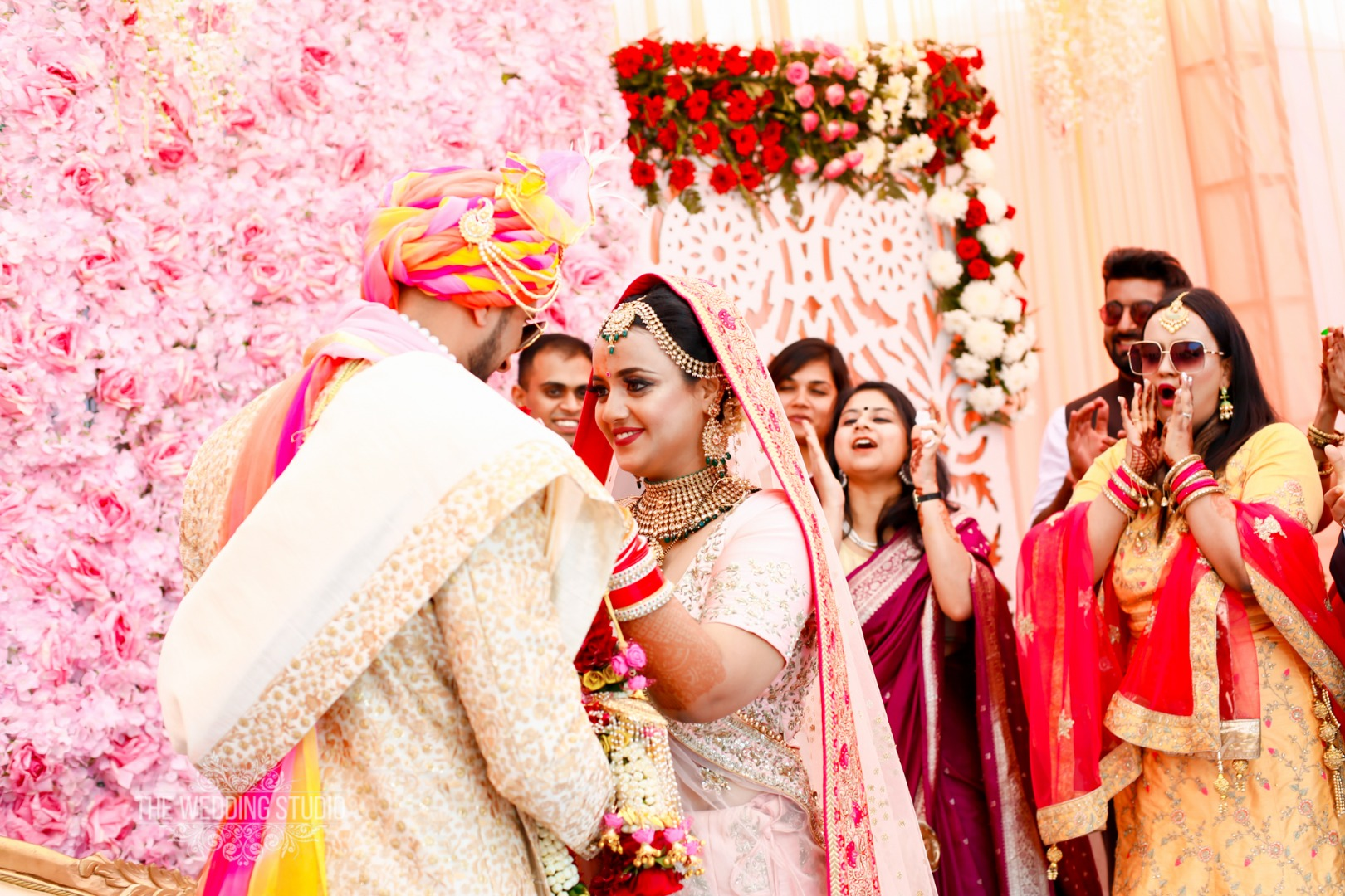 Beautiful Pink Floral Wall in Indian Weddings