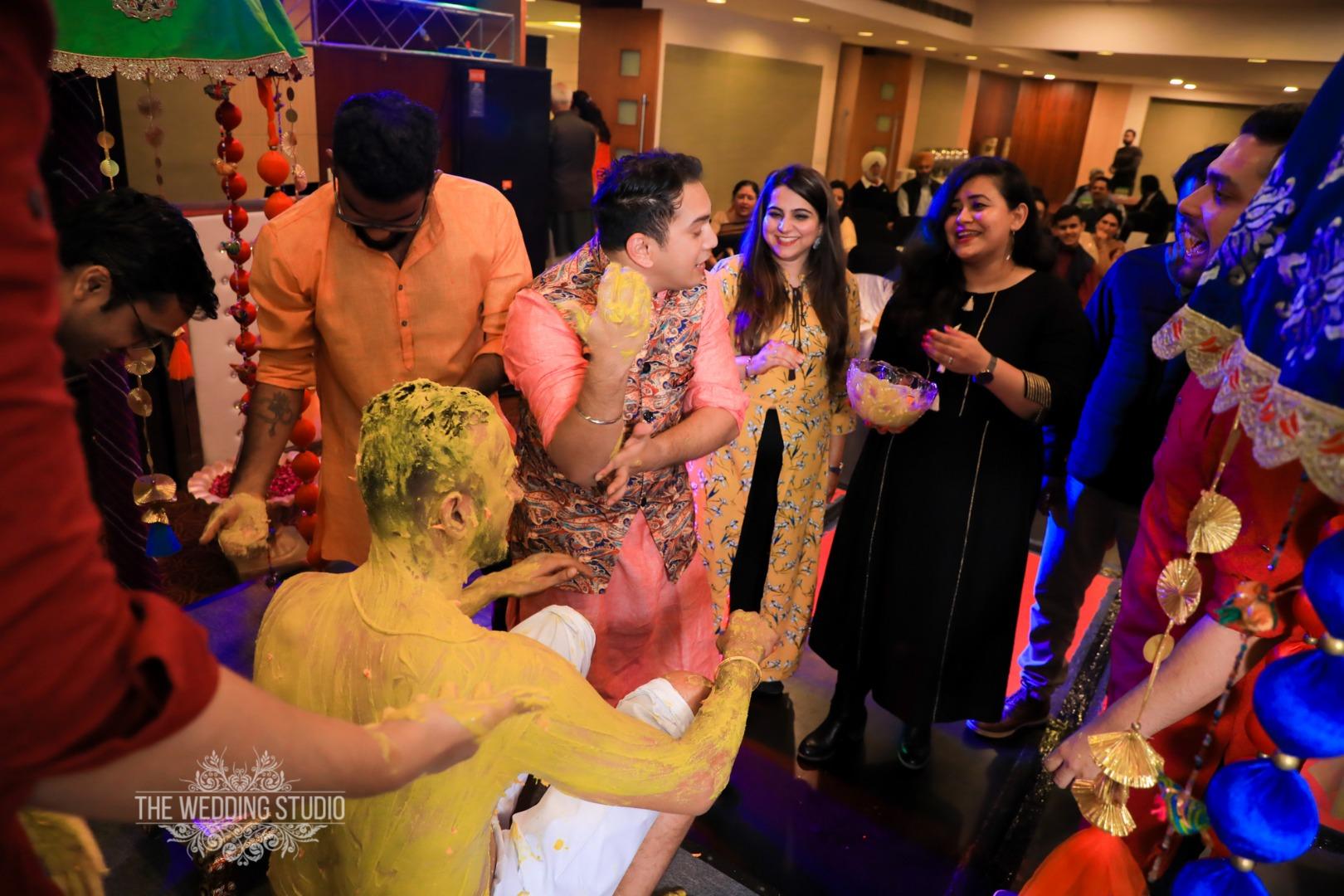 Groom Fun Pictures at Haldi Ceremony