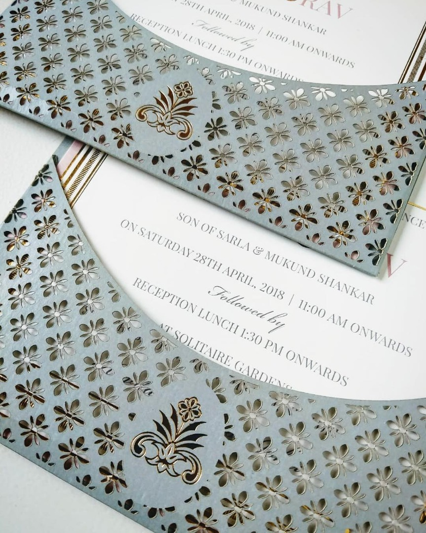 Grey & White Laser Cut Wedding Card Invite