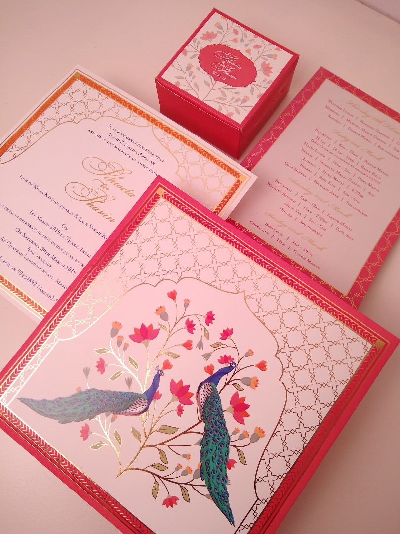 Pink & Red Peacock Theme Wedding Card Invite
