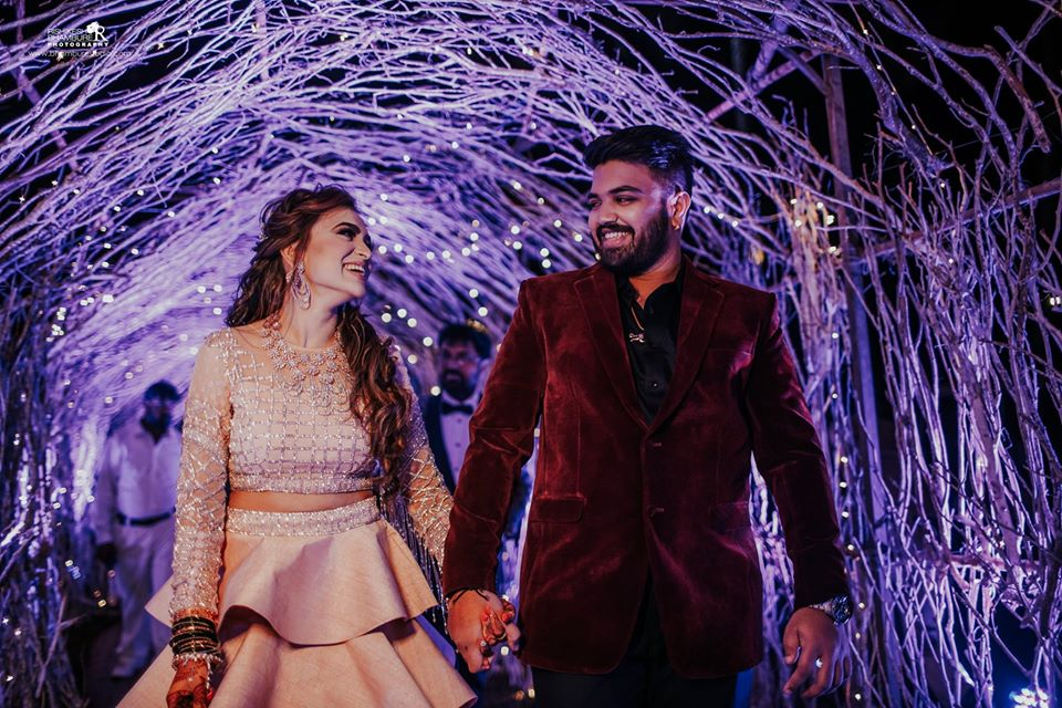 Beautiful Bride & Groom Entry in Wood & Fairy Lightsn Entrance Decoration
