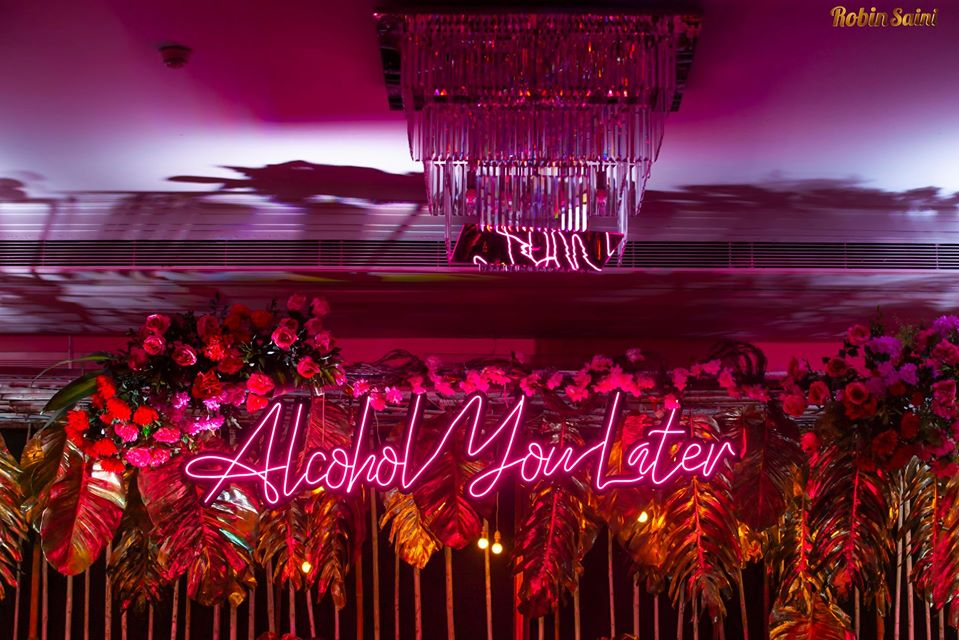 LED Sign Bar Decor with Flowers and Gold Leaves