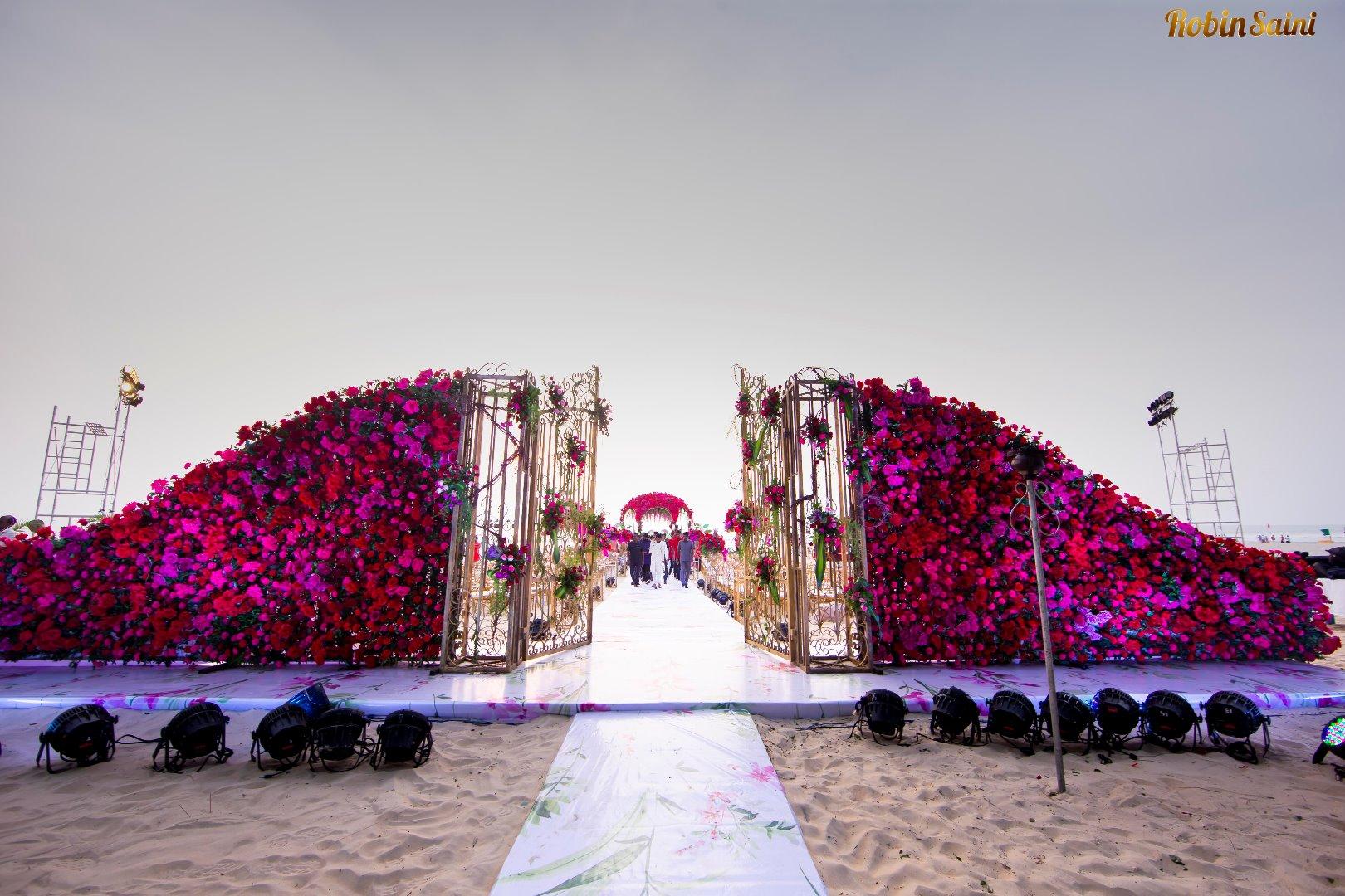 Pink & Red Full Floral Wedding Entrance