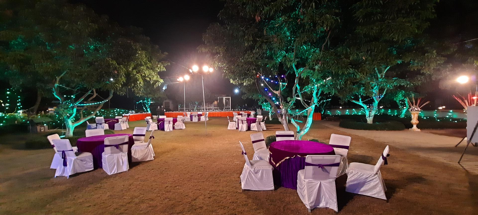 purple and white wedding décor