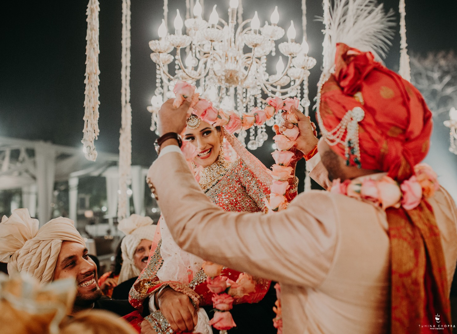 Candid photography of Bride and groom during the Vermala