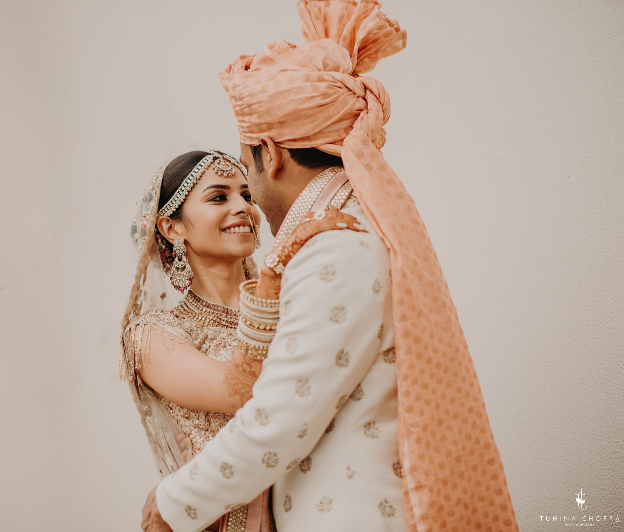 Beautiful bride and groom post-wedding