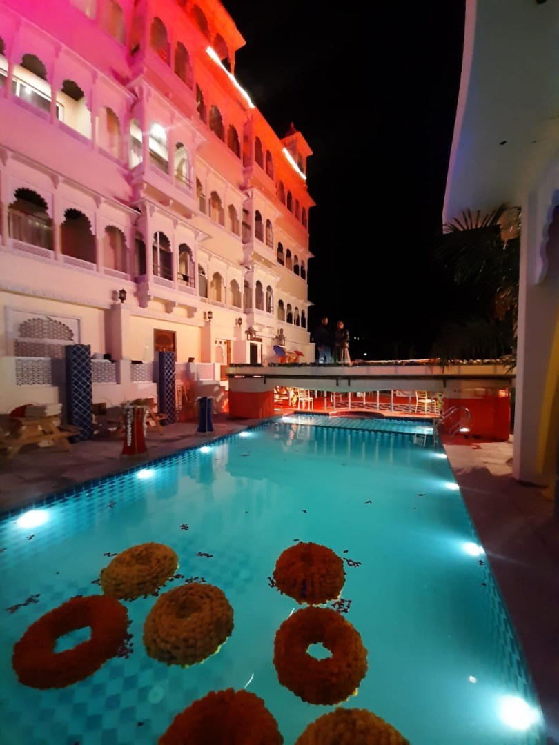 pool decorated with marigold