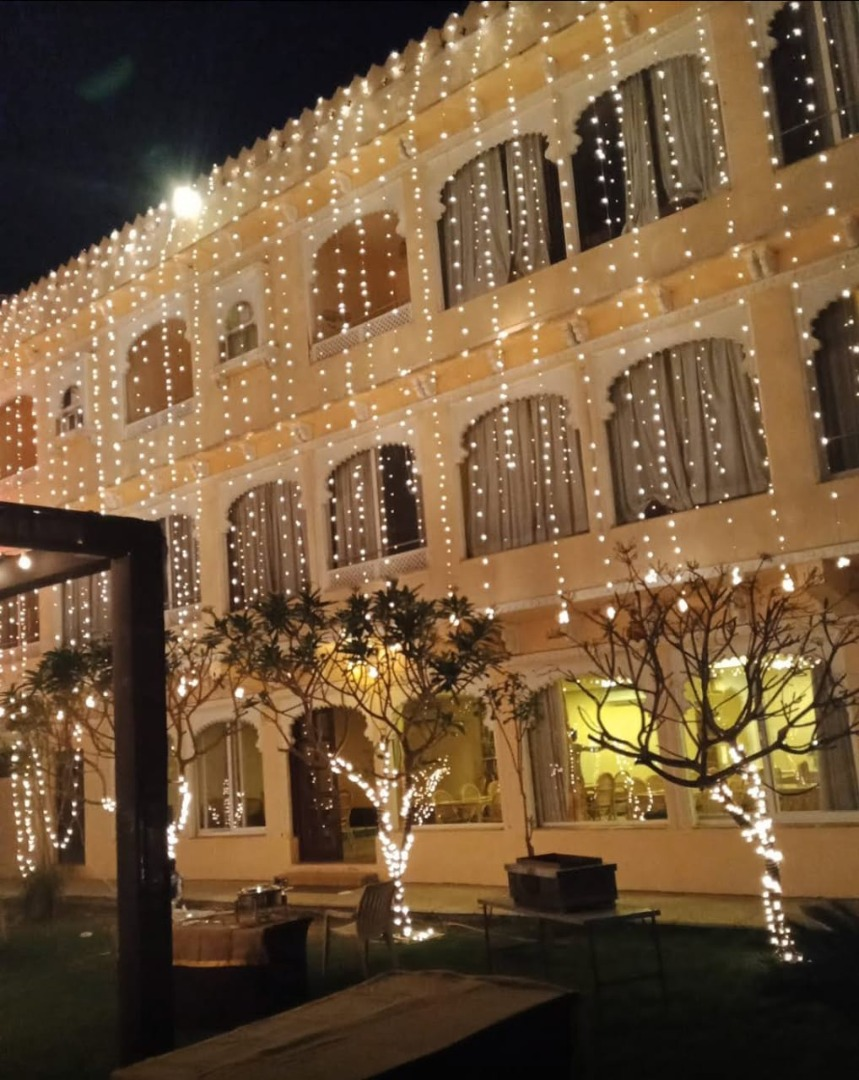 venue decorated with fairy lights