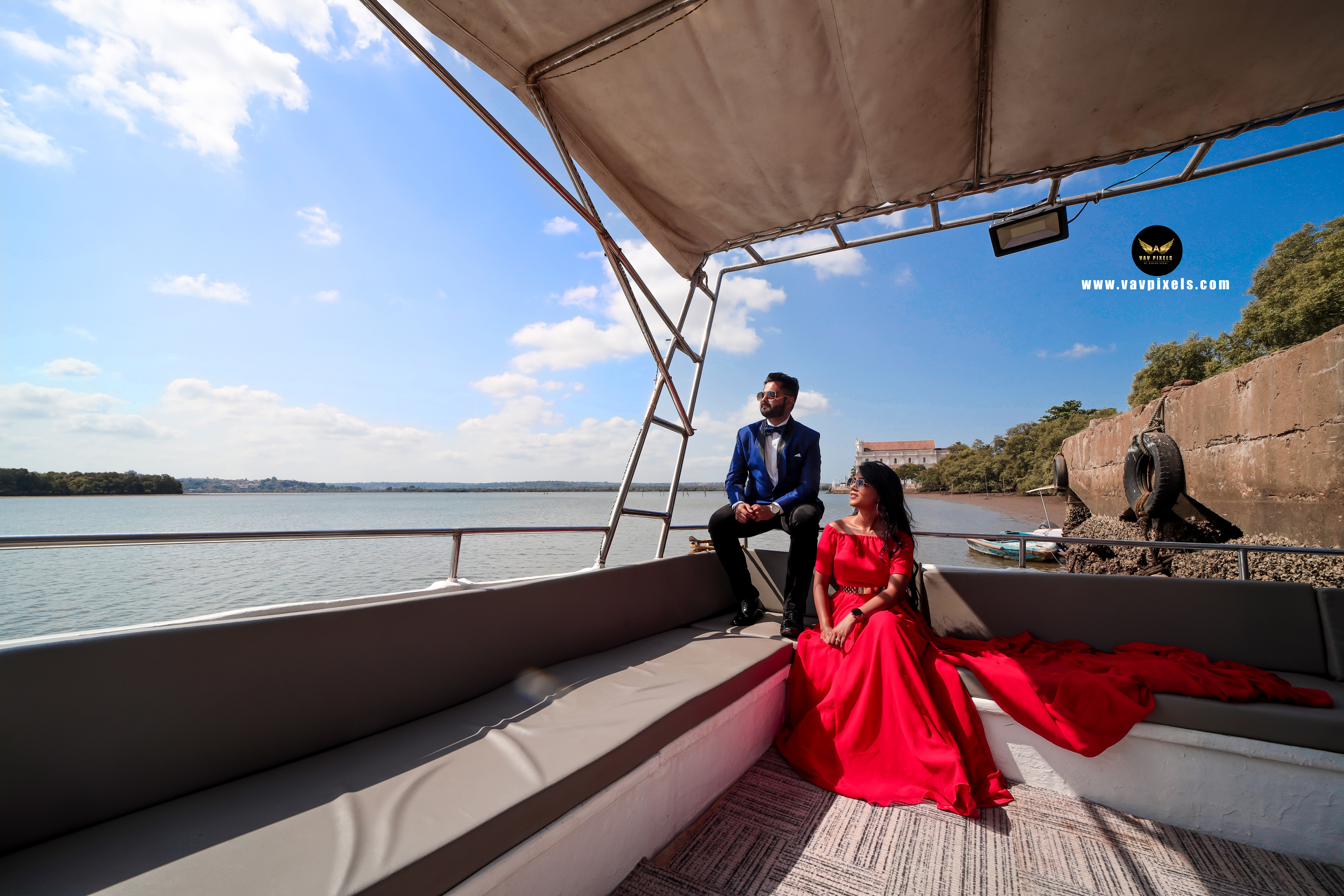 Bride and groom pre wedding photoshoot on a deck