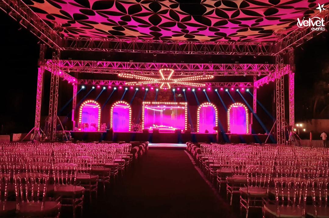 Pink Lights and LED Lights Sangeet Ceremony Decor