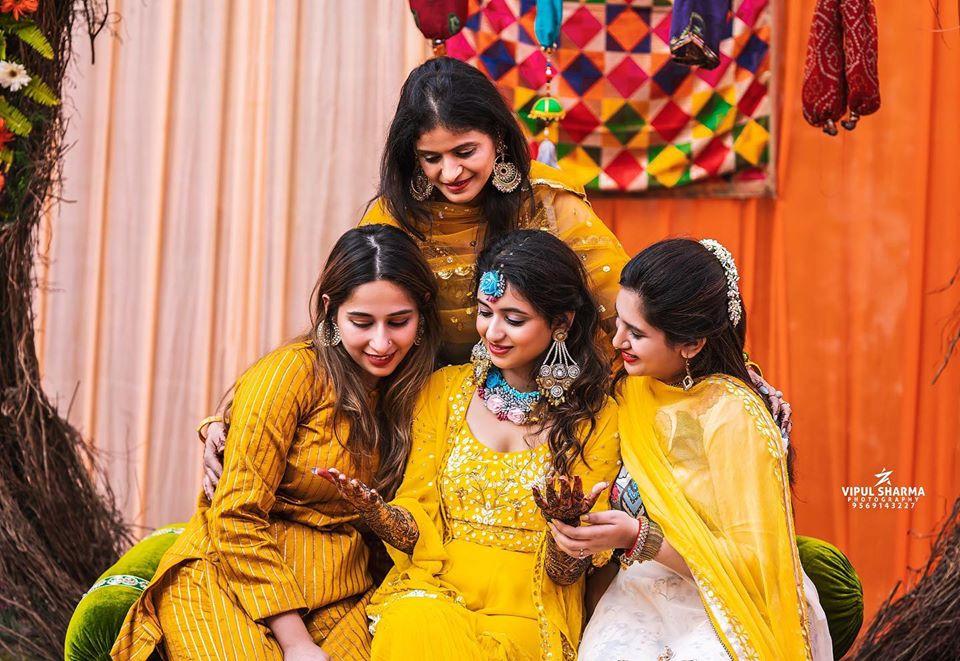 Bride & Bridesmaids in Yellow Theme  Mehendi Ceremony