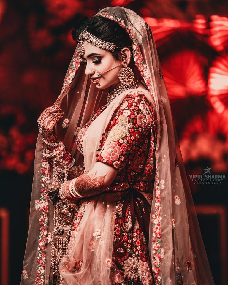 Indian Bride in Floral Red Lehenga